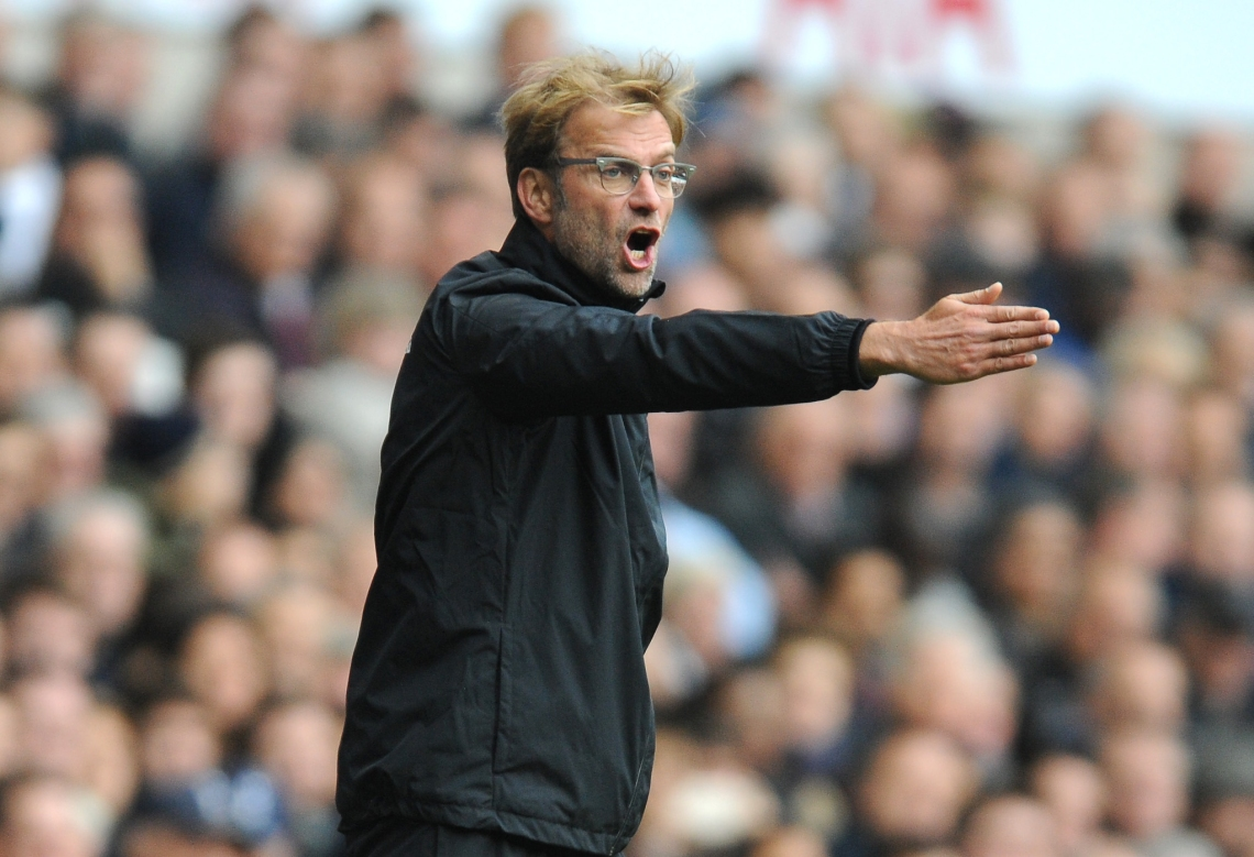 Liverpool manager Juergen Klopp gestures during the English Premier League soccer match between Tottenham Hotspur and Liverpool at the White Hart Lane, London, England, Saturday, Oct. 17, 2015. (AP Photo/Rui Vieira)